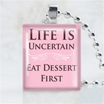 Life is Uncertain Scrabble Game Tile Necklace