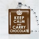 Keep Calm and Carry Chocolate Scrabble Game Tile Necklace