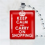 Keep Calm and Carry On Shopping Scrabble Game Tile Necklace
