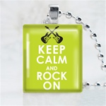 Keep Calm and Rock On Scrabble Game Tile Necklace