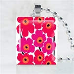 Pink Flower Pattern Scrabble Game Tile Necklace
