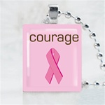 Courage Pink Ribbon Scrabble Game Tile Necklace