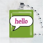 Hello Scrabble Game Tile Necklace