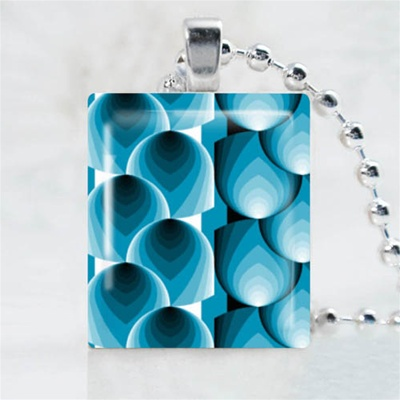 Abstract-Blue Pattern Scrabble Game Tile Necklace
