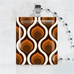 Abstract-Brown Pattern Scrabble Game Tile Necklace