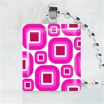Abstract-Pink Pattern Scrabble Game Tile Necklace