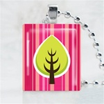 Funky Tree-Green Leaf Scrabble Game Tile Necklace