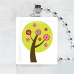 Funky Tree-Green Tree Scrabble Game Tile Necklace