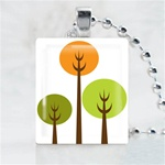 Funky Tree-Three Tree Scrabble Game Tile Necklace