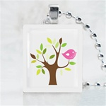 Funky Tree-Birdy Tree Scrabble Game Tile Necklace