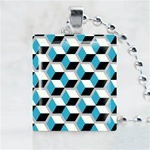 Abstract-Blue Cube Scrabble Game Tile Necklace