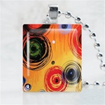 Abstract-Orange Circles Art Scrabble Game Tile Necklace