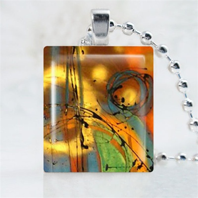 Abstract-Colorful Art Scrabble Game Tile Necklace