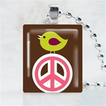 Peace Sign Bird Scrabble Game Tile Necklace