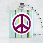 Blue Peace Sign Scrabble Game Tile Necklace