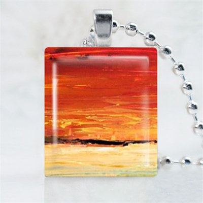 Orange Horizon Art Scrabble Game Tile Necklace