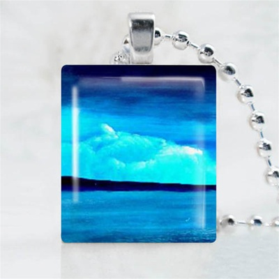 Blue Rolling Wave Art Scrabble Game Tile Necklace