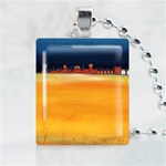Orange Field Town Art Scrabble Game Tile Necklace