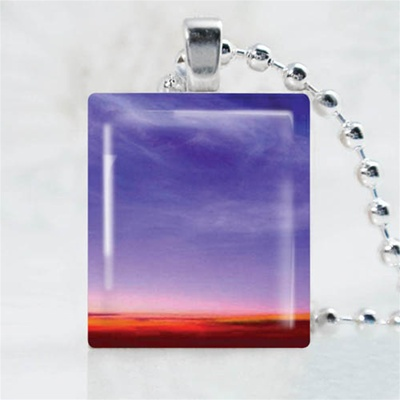 Purple Sky Art Scrabble Game Tile Necklace
