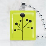 Black Dandelion Scrabble Game Tile Necklace