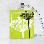 Green Two Dandelion Scrabble Game Tile Necklace