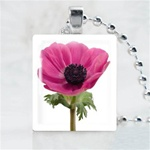Pink Flower Scrabble Game Tile Necklace