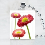 Three Red Flowers Scrabble Game Tile Necklace