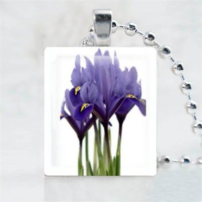 Violet Flower Scrabble Game Tile Necklace
