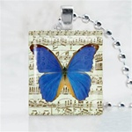Music Note Butterfly Scrabble Game Tile Necklace