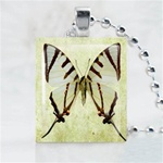 Blue Butterfly Scrabble Game Tile Necklace