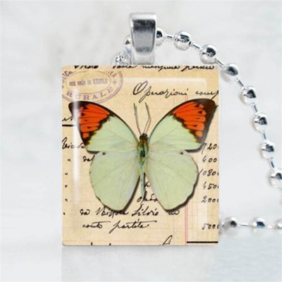 Green Butterfly Scrabble Game Tile Necklace