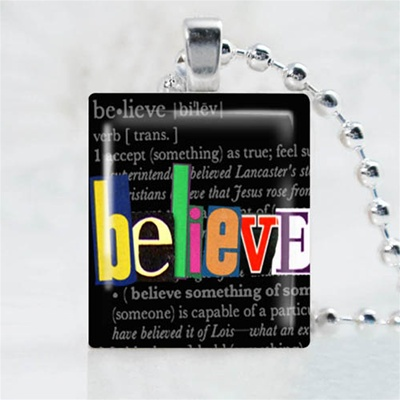 Believe Black Scrabble Game Tile Necklace