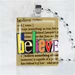 Believe Brown Scrabble Game Tile Necklace