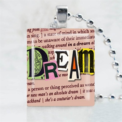Dream Pink Scrabble Game Tile Necklace