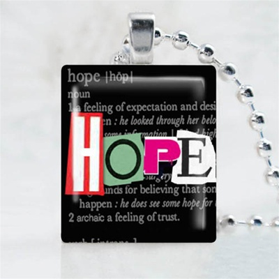 Hope Black Scrabble Game Tile Necklace