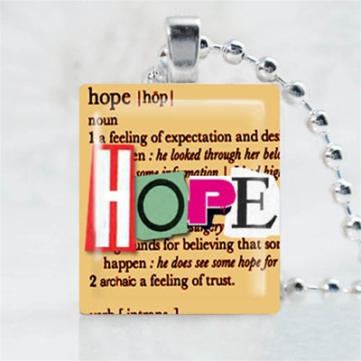 Hope Brown Scrabble Game Tile Necklace