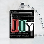 Joy Black Scrabble Game Tile Necklace