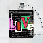 Love Black Scrabble Game Tile Necklace
