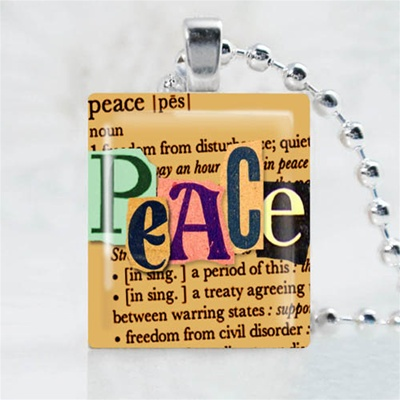 Peace Brown Scrabble Game Tile Necklace