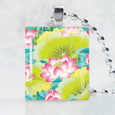 Traditional Asian-Lotus Scrabble Game Tile Necklace