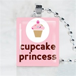 Cupcake Princess Scrabble Game Tile Necklace