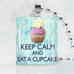 Cupcake Flower Scrabble Game Tile Necklace