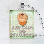 Cupcake Chocolate Scrabble Game Tile Necklace