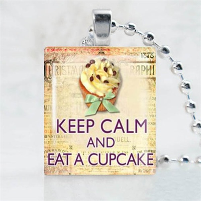 Cupcake Bow Scrabble Game Tile Necklace