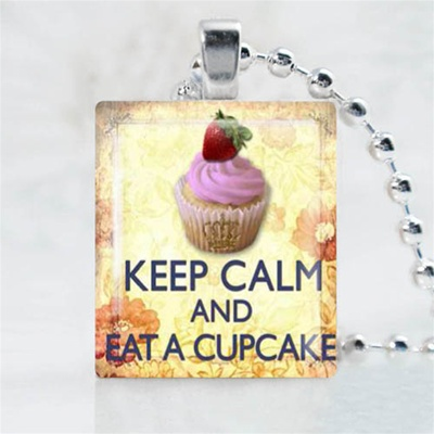 Cupcake Strawberry Scrabble Game Tile Necklace