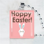 Happy Easter Bunny Scrabble Game Tile Necklace