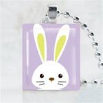 Purple Bunny Scrabble Game Tile Necklace