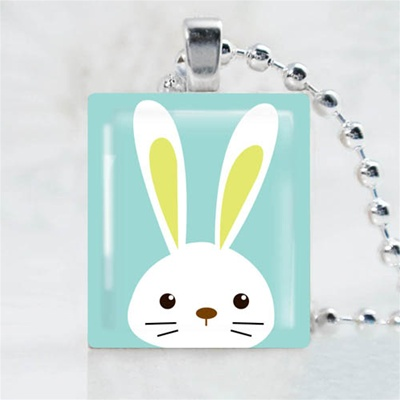 Blue Bunny Scrabble Game Tile Necklace