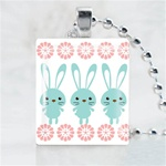Three Bunnies Scrabble Game Tile Necklace