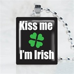 Kiss Me I am Irish Balck Scrabble Game Tile Necklace